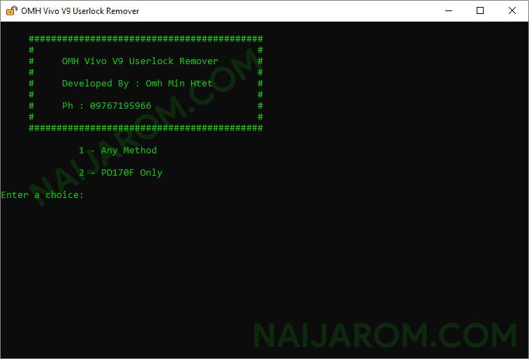 omh vivo v9 userlock remover